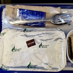 In flight meal: Shrimp pasta with a rum raisin cake dessert.