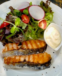 Cabbages&Condoms: Salad with pan seared salmon.